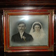 SALE Antique Wedding Bride and Groom Painting in Antique Victorian Frame
