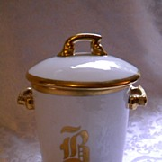 SALE RARE Antique 1890's T & V Limoges France Porcelain Evaporated Milk Can Holder