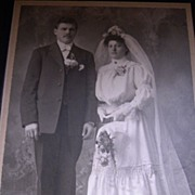 SALE Antique Cabinet Photograph Bride and Groom 1910 Stolt Calumet, MI