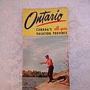 SALE 1950 Ontario Canada Vacation Brochure 4 Color Excellent Condition!
