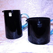 SALE Mid Century Modern Sasaki Black Crystal Barware Pitchers SOICHIRO SASAKURA