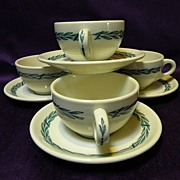 SALE Vintage Mayer China Restaurant Ware Laurel Coffee Cups and Saucers (4)
