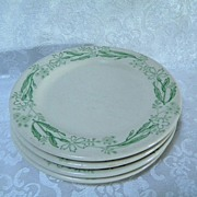 "Walker China Restaurant Ware Green Leaf & Floral Bread & Butter Plates 6 3/4"" (6)"