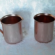 Vintage Retro Color Craft Aluminum Creamer and Sugar Set