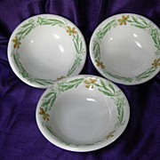 SALE Walker China Restaurant Ware Green Leaf and Orange Floral Fruit Bowls 5 3/4""