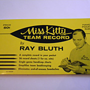Rare 1960 Ray Bluth Miss Kitty Team Record Booklet - UNUSED