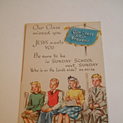 1940's Sunday School Postcard UNUSED