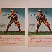 Vintage 1940's Sunday School Postcard - Baseball - Boy - UNUSED (2)
