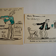 1940's Original Hand Drawn Cartoon Birthday Cards (2)