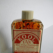 Vintage 1940�s - 1950�s Sunscreen - Tanning Oil Glass Bottle �Kool Tan�