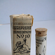 Early 1900's Humphreys Homeopathic # 10 Stomach Medicine Bottle and Package