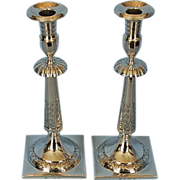 Pair of Early 19th Century Polish 800 Fine Silver Candlesticks by Jan Maciej Schwartz, Warsaw