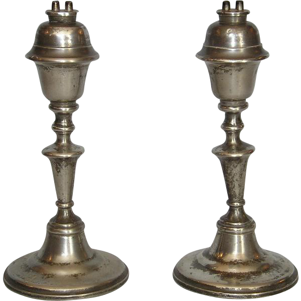 Pair of Mid-19th Century American Pewter Whale Oil Lamps from fitzsimonantiques on Ruby Lane