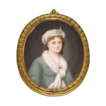 18th Century English Hand-painted Miniature Portrait on Ivory in Oval Gilt Frame