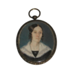 A Fine Mid-19th Century English Hand-painted Miniature Portrait on Ivory in Sterling Silver Oval Frame