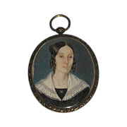 A Fine Mid-19th Century English Hand-painted Miniature Portrait on Ivory in Sterling Silver Ov