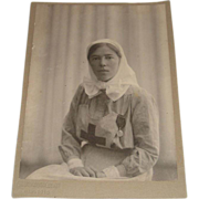 Original Photograph of Grand Duchess Olga Alexendrovna in Nurses Uniform Dated 1916