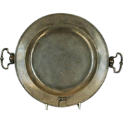 Mid-18th Century English Pewter Warming Pan with Side Drop Handles by Robert Hitchman