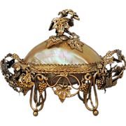 19th Century German Silverplate and Shell Caviar Bowl & Cover