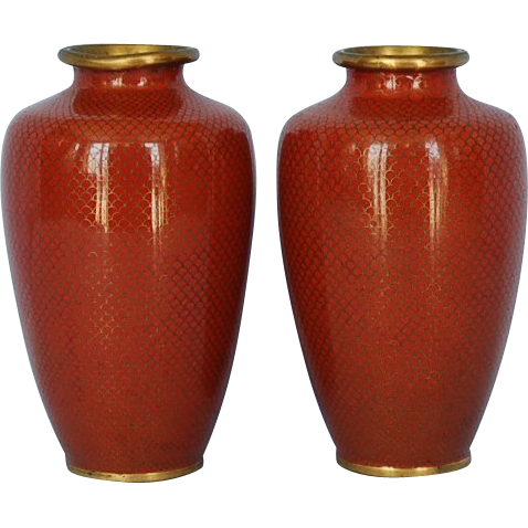 Vintage Pair Japanese Cloisonn Vases with Fish Scale Wirework