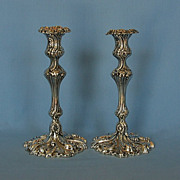 Mid-19th Century Pair of English Silverplate Candlesticks by William Gough