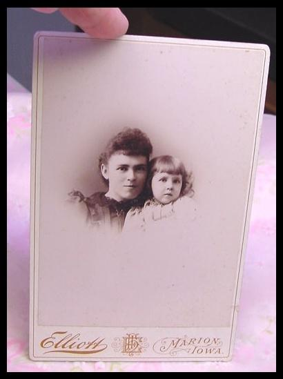 Antique Photo Card of Young Mother and Daughter  Marion Iowa