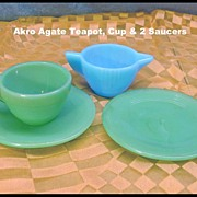 Vintage Akro Agate Child Dish Set  Teapot and Cup and Saucers in Jadite