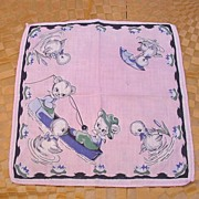 Child's Hanky Bears Fishing with Ducks and Cattails  Childrens Handkerchief