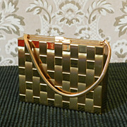 Vintage Basketweave  Compact and Cigarette Purse    Minaudere
