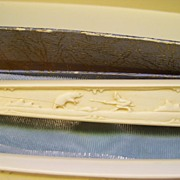 Genuine Ivory Carving Knife and Fork Set Carved Eskimo and Polar Bear - original Box