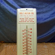Large Vintage Metal Advertising Thermometer Holt Motor Co. Oklahoma