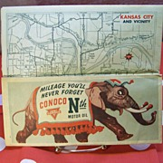 1940's Conoco Map with ELEPHANT Conoco Nth Motor Oil by HM Gousha Company