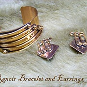Renoir Large Copper Cuff Bracelet and Earrings from the 1950s SIGNED
