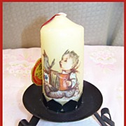 Hand Dipped M.J. Hummel Candle on Stand WEST GERMANY Original HANG TAG