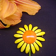 Vintage Original by Robert Brooch Bright Yellow & Orange Enamel Daisy Flower