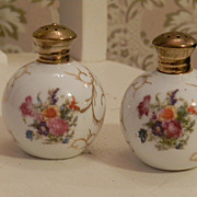 Irice Salt and Pepper Shakers   Hand painted Porcelain
