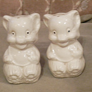 American Bisque White Pottery Bear Salt and Pepper Shakers