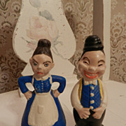 Blue Old Man and Old Woman Turnabout Salt and Pepper Shakers