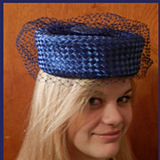 Adele Claire of New York Blue Pillbox Hat with blue Netting