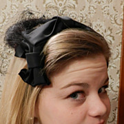 Lovely Black Woman's Hat with Mink fur  and Black Bow
