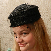 Black Woven Straw Woman's Pillbox Hat with netting