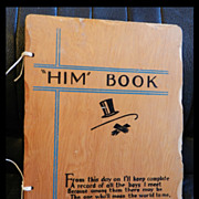 "1940's Wooden Book ""HIM"" Book   A Husband Wish List"