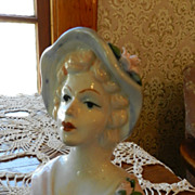 Gorgeous Lady Head Vase with Blue Hat and Pink Roses