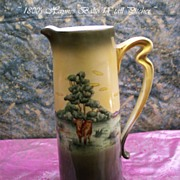"14"" Haynes Ware Pottery TALL Pitcher Grasslands and Cow Pattern"