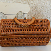 "12""    Wicker Purse   Lovely shape"