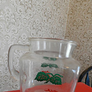 "Federal Glass 5 1/4"" Juice Pitcher with Tomatoes   Square"