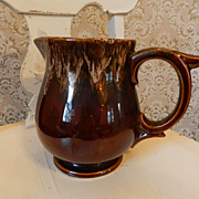Brown Drip Glaze Crockery Pitcher  Unique Handle