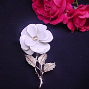 Avon White Flower Brooch Pin  Marked