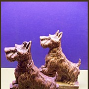 SOLD Scottie Dog Bookends of Socorro Wood
