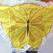 Bright Yellow Butterfly Apron Embroidered Apron